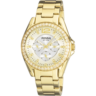 fossil time 3 hands fossil dress gold uhr f r damen es2421