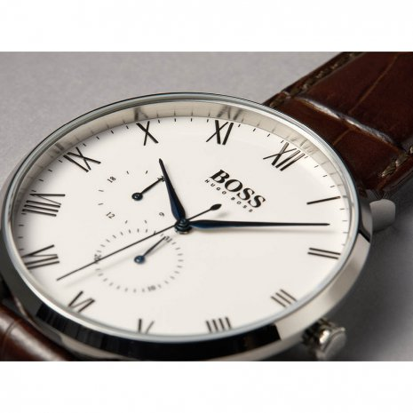Silver & Brown Quartz Watch with Date Herbst / Winter Kollektion Hugo BOSS